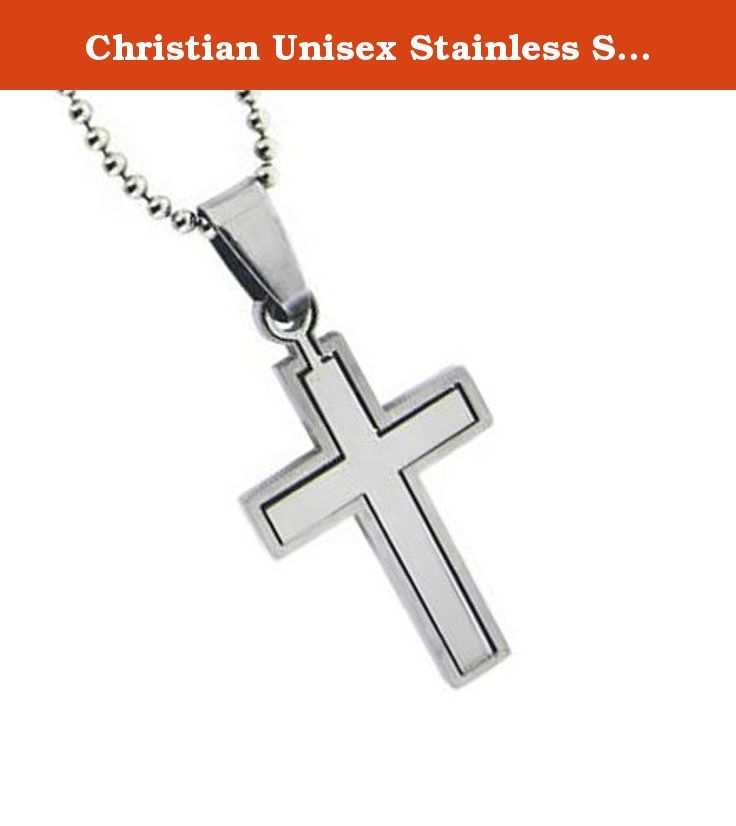"Christian Unisex Stainless Steel Abstinence Puzzle Cross Chastity Necklace on a 18"" Ball Chain - Purity Necklace, Mens Cross Necklace, Womens Cross Necklace, Guys Cross Necklace, Girls Cross Necklace, Boys Cross Necklace. This stainless steel cross necklace comes on a 18"" chain. The inner cross slides in and out of the outer cross."