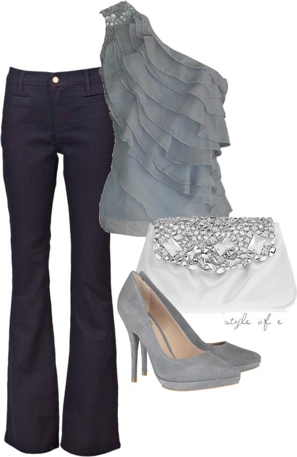 Dark denim, silver and white. #fashion #style #silver #heels #goingout