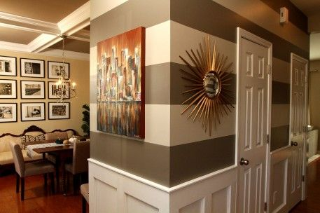 Restoration Hardware Slate and Valspar Bonsai : Eat. Sleep. Decorate has an excellent tutorial on how to paint a striped wall. The darker color is Restoration Hardware Slate color matched by Sherwin Williams and the lighter color is Valspar Bonsai. Love this color combo! Thanks, Amy! See more rooms with striped walls.