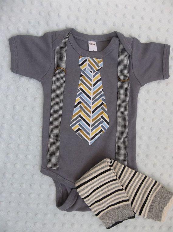 Baby Boy Tie Suspender Onesie  Leg Warmers  Preppy Baby Boy