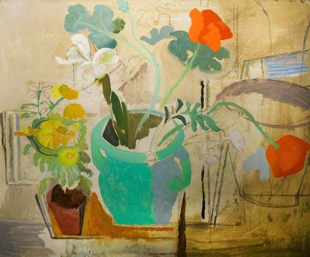 Ivon Hitchens  Poppies in a Green Bowl
