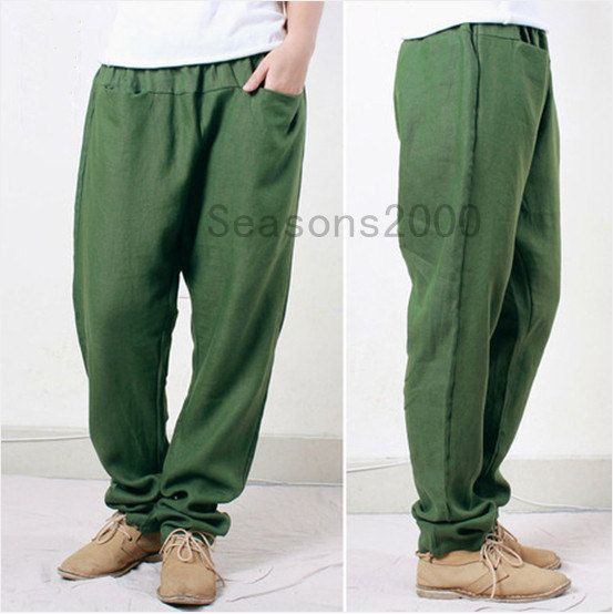 Women green linen Pants Flax Trousers casual loose por seasons2000, $55.00