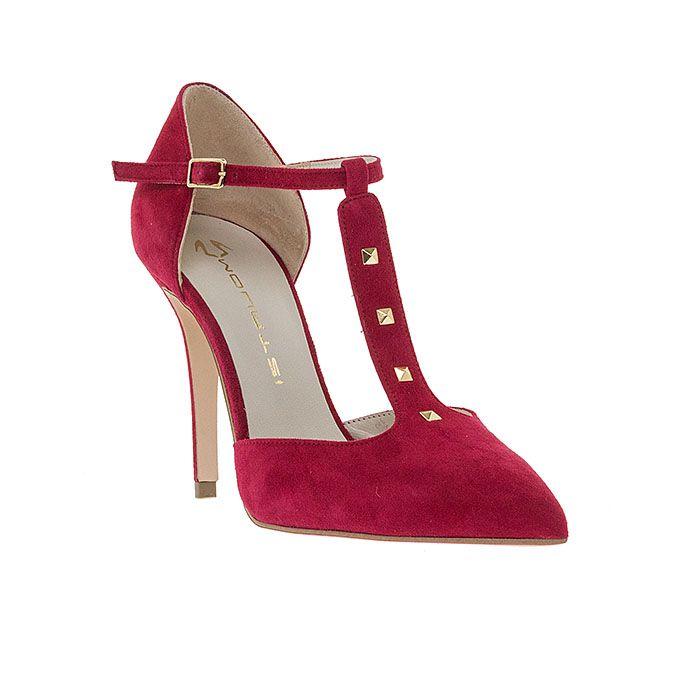 100455-LIPSTICK SUEDE www.mourtzi.com #pumps #heels #mourtzi #redshoes