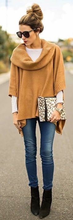 fall outfit ideas / camel knit poncho + booties