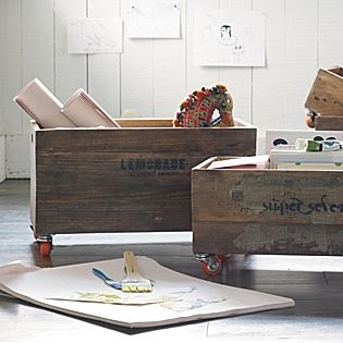 casters on to crates for a great storage idea