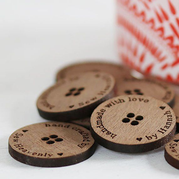 Handmade Inscribed Wooden Buttons Size 20mm