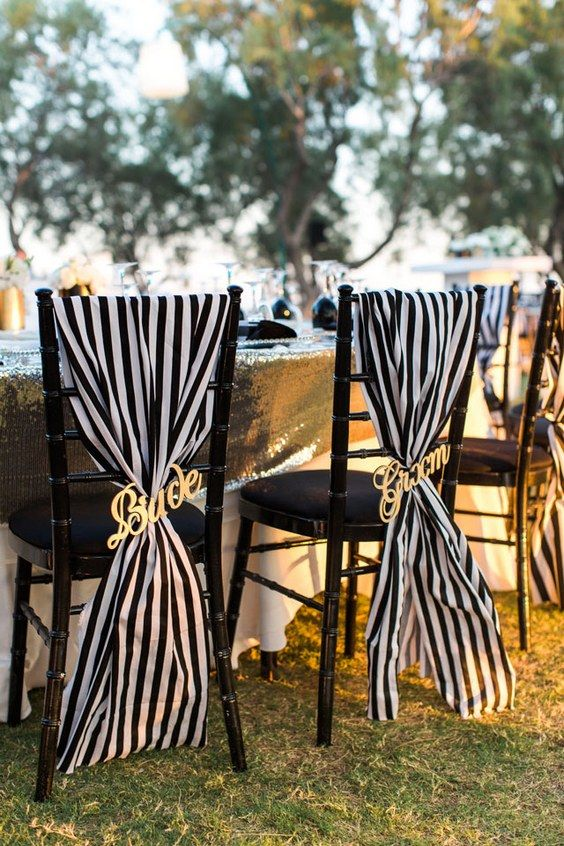 Black And White Wedding Chair / http://www.himisspuff.com/black-and-white-sassy-stripes-wedding-ideas/