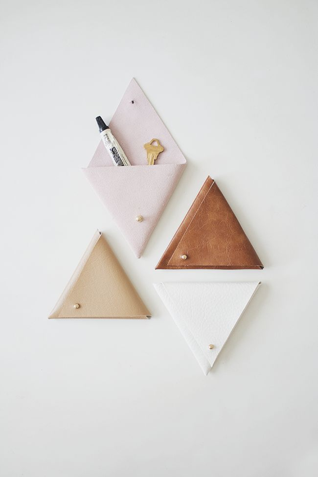 DIY triangle leather pouches |
