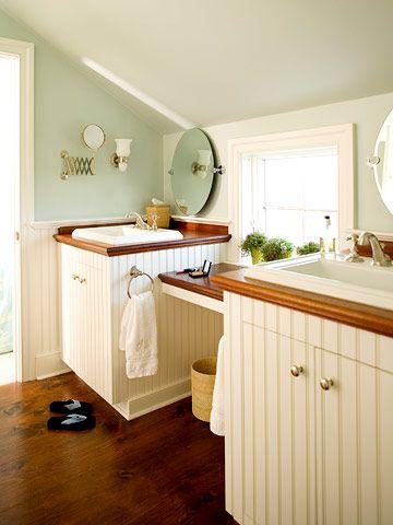 Small Bath Solutions: Bath Solutions, Beads Boards, Small Spaces Storage, Small Bath, Bathroom Ideas, Wood Countertops, Attic Bathroom, Cottages Bathroom, The Sea