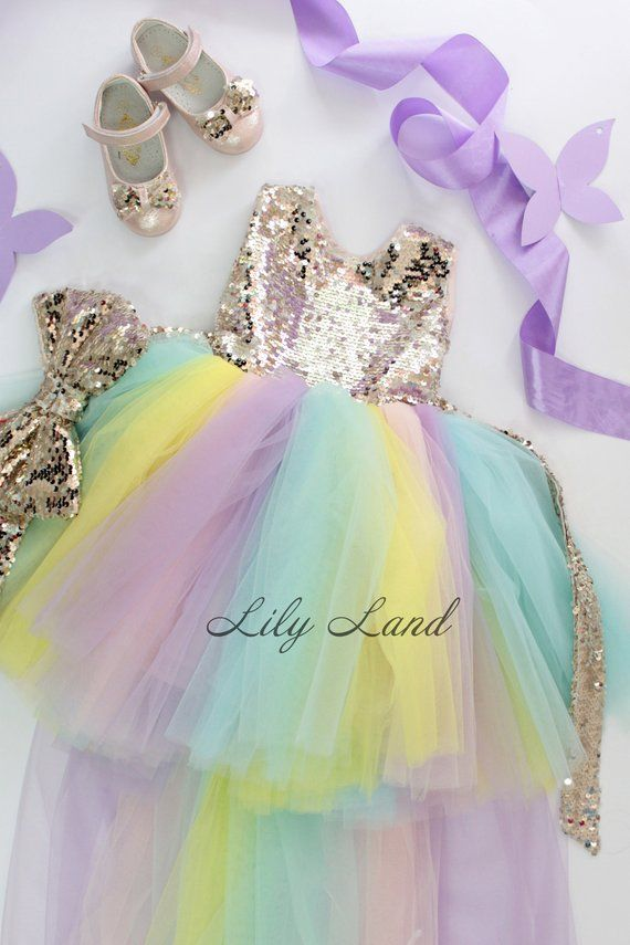0fb51a77ff0 Sequins Unicorn Tutu Dress Flower Girl Dress Tulle Dress Unicorn ...