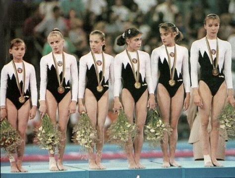 The Unified Team - gymnasts from Ukraine, Uzbekistan, Belarus and Russia - wins gold at the 1992 Olympics.