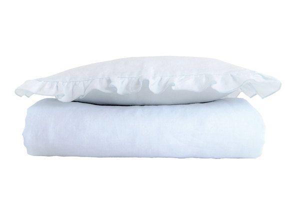 Linen toddler bedding  linen ruffled bedding blue bedding