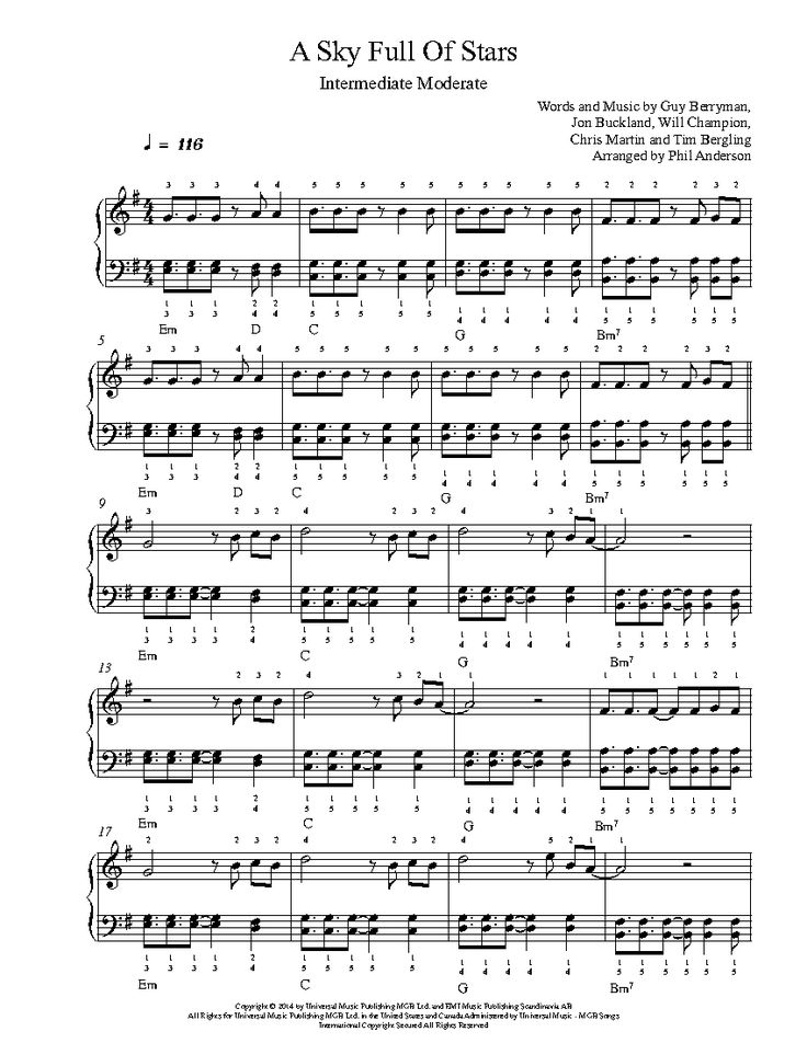 A Sky Full of Stars by Coldplay Piano Sheet Music | Intermediate Level
