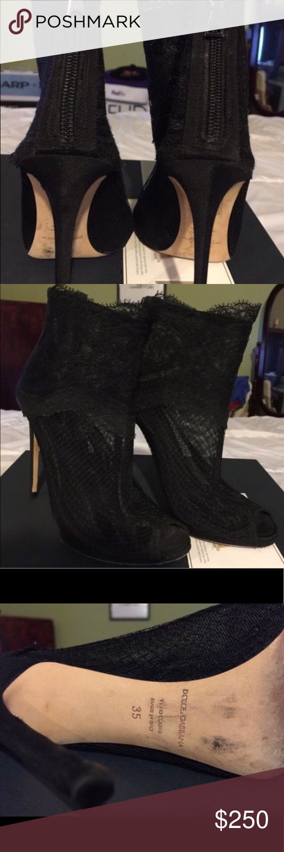 Dolce & Gabana Black Lace Booties Dolce & Gabana Authentic Black lace ankle boots in very good condition.  No box and size 35 European and 5 US Dolce & Gabbana Shoes Ankle Boots & Booties