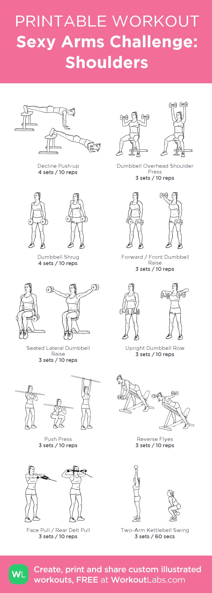 Sexy Arms Challenge: Shoulders:my visual workout created at WorkoutLabs.com • Click through to customize and download as a FREE PDF! #customworkout