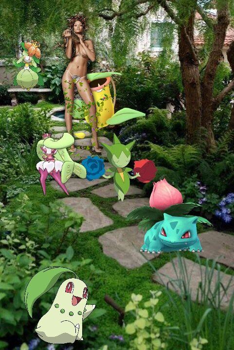 Rihanna treinadora de pokemon tipo Planta