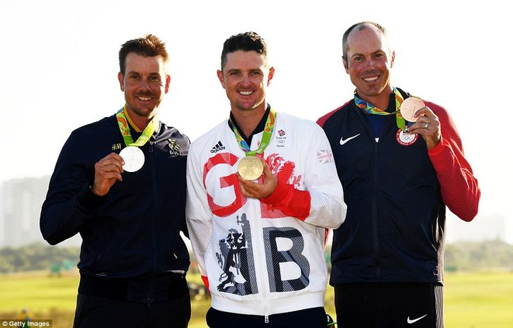 Justin Rose of Great Britain takes the gold (centre) stands alongside silver medallist Henrik Stenson of Sweden (left) and bronze medallist Matt Kuchar of the USA.  First time golf was an event in the Olympics since 1904.