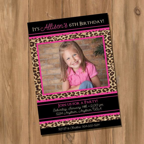 Pink Leopard / Cheetah Birthday Party Invitation