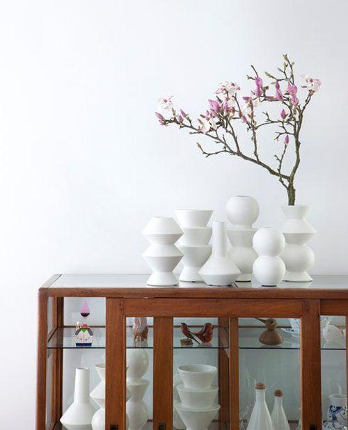 White vases from Ferm Living ~ via Happy Mundane