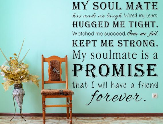 My Soul Mate Vinyl Wall Decal, Romantic Sayings, Wall Art, Vinyl Wall Decals, Custom Signs, Word Cloud Decal, Bedroom Decal, Love Art