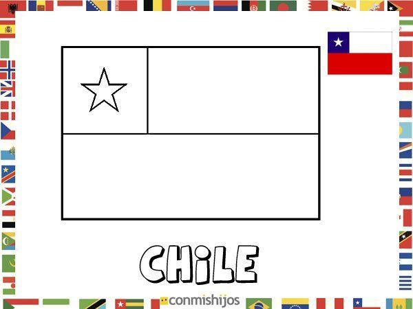 Bandera de Chile. Dibujos de banderas para pintar