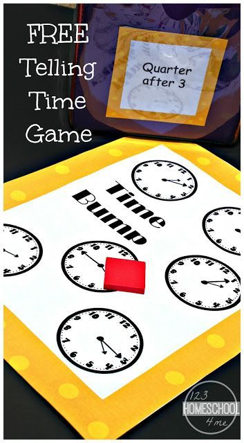 FREE Time Bump- This free printable clock game will help first grade and second grade practice telling time in a fun way. Perfect for summer learning, homeschooling, after school, or math centers.