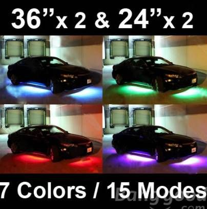 7 Color LED Under Car Glow Underbody System Neon Lights Kit - US$25.99