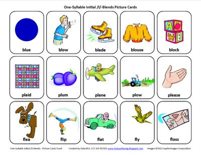 L-Blends (/bl/, /pl/, /fl/): Free Speech Therapy Articulation Picture Cards - Re-pinned by @PediaStaff – Please Visit http://ht.ly/63sNt for all our pediatric therapy pins