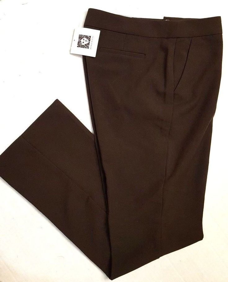 NEW ANNE KLEIN WOMEN'S DRESS PANTS BROWN 4-PETITE BOOT LEG THE EXECUTIVE B97 #AnneKlein #DressPants