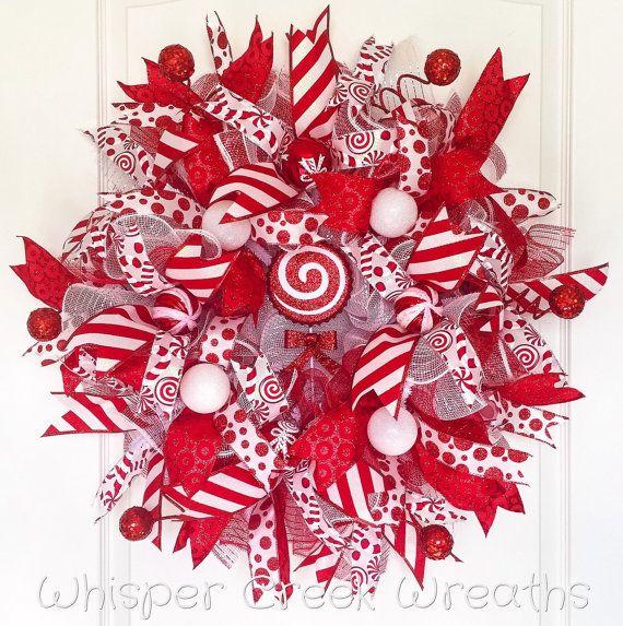 Unique candy cane wreath ideas on pinterest