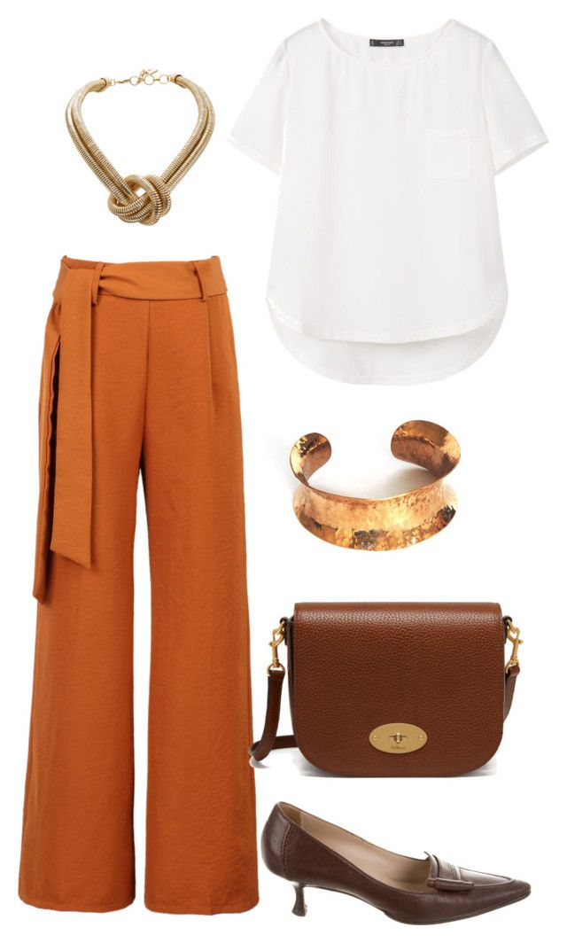 Brown Slacks by robinabraham on Polyvore featuring MANGO, Amber Laces, WithChic, Manolo Blahnik, Mulberry and BCBGMAXAZRIA