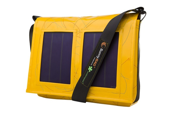 SunnyBAG Faction Scorpion Yellow - solar power messenger bag that charges your  mobile devices while you go!  Made from recycled truck tarpaulin and seat belts :)