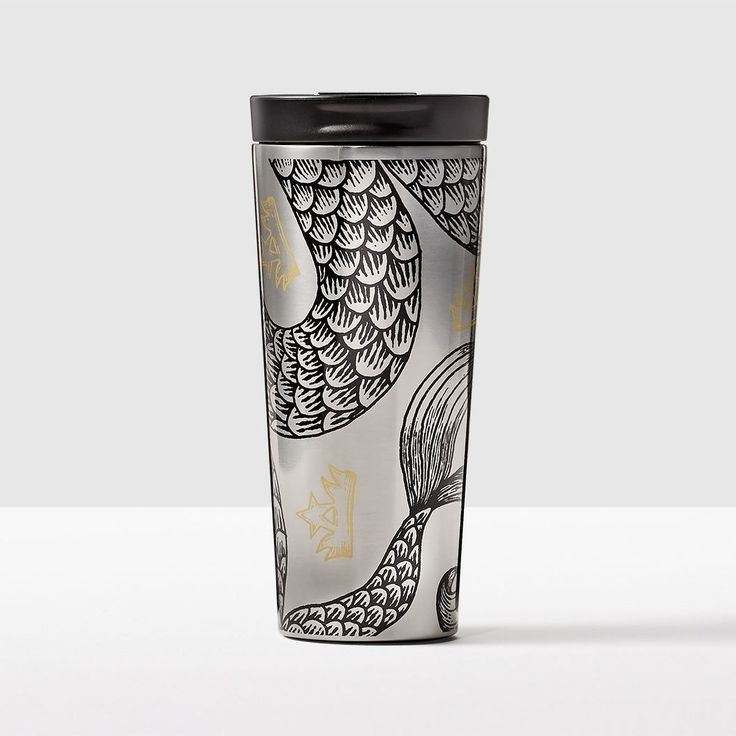 Stainless Steel Siren Tail Tumbler. Starbucks Siren has inspired many artists. This illustration of her swishing tail is one of our favorites.