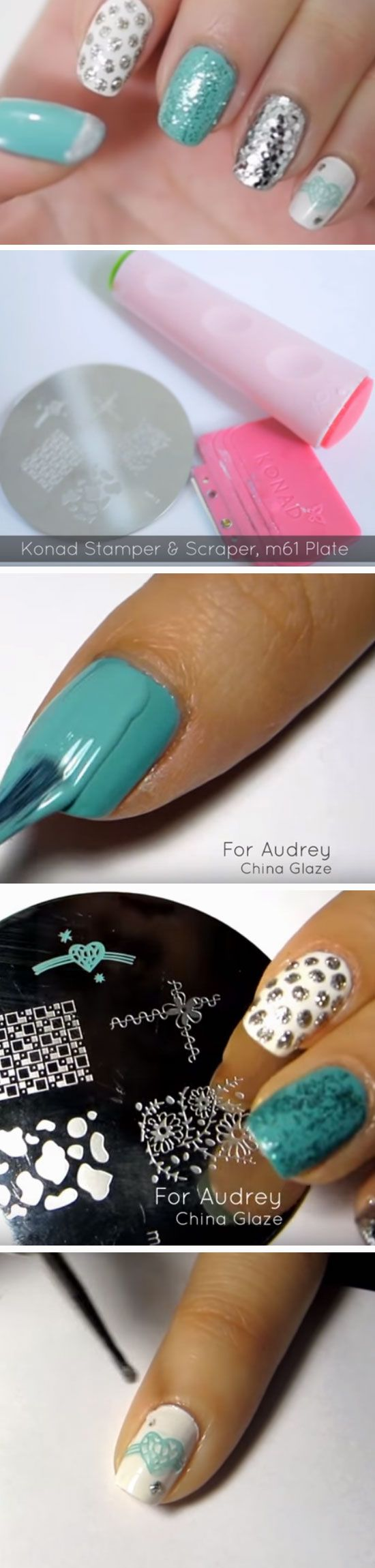 Tiffany Blue & Silver   Prom Nail Art Designs with Glitter