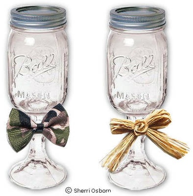 Redneck wine glass! How cute is this?! I saw some of them for sale @ Martins in Oxford a couple if weeks ago for like $20.00! GREAT GIFT IDEA that could be easy to make!