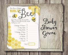 Bee Baby Shower Game - Price is Right Game - Mom to Bee Baby Shower - Yellow…