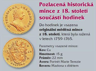 Pozlacená historická mince součástí hodinek.