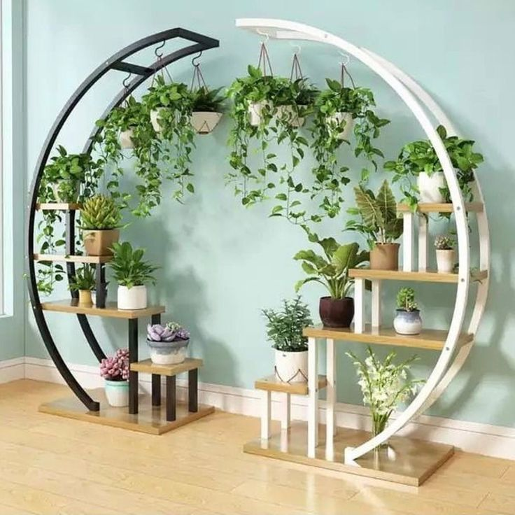 This Tall Round Indoor Plant Holder Is So Cool And Unique Garden Rack House Plants Decor House Plants Indoor