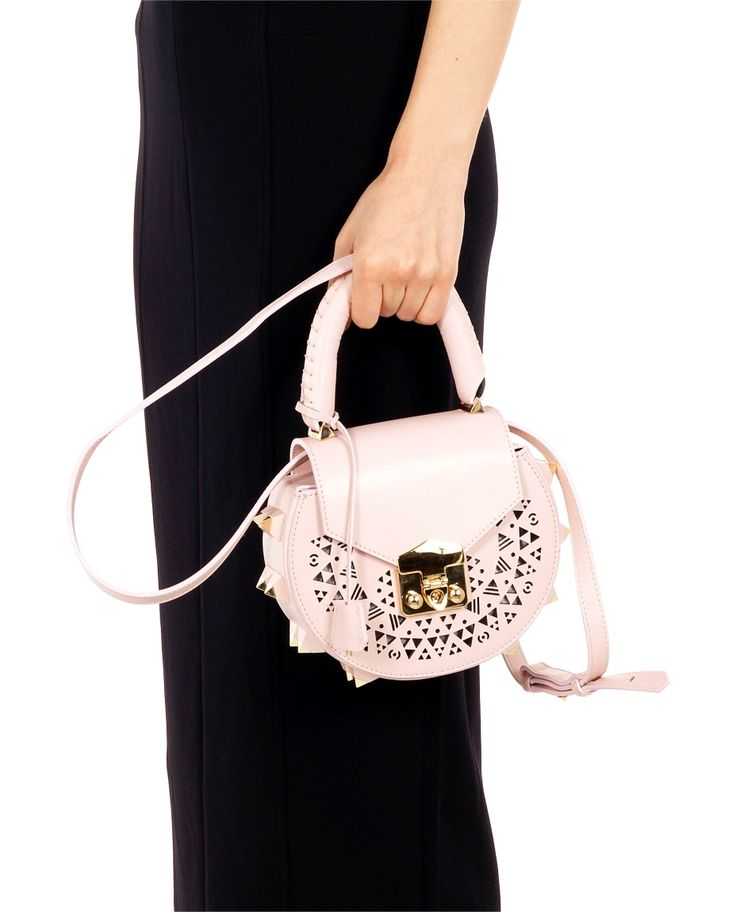SALAR LASER CUT SHOULDER BAG ''MIMI'' SS 2016 Pink shoulder bag ''mimi'' laser cut decorations  plastic side studs front closure with padlock laminated internal calfskin  leather shoulder chain not detachable (27cm) 16x18x6 cm  100% Calfskin Made in Italy