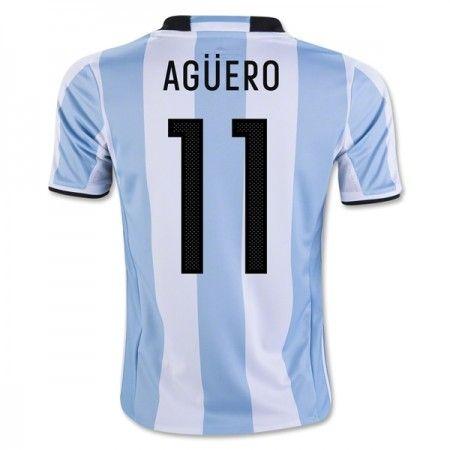 Argentina 2016 Sergio Aguero 11 Hjemmedrakt Kortermet.  http://www.fotballteam.com/argentina-2016-sergio-aguero-11-hjemmedrakt-kortermet.  #fotballdrakter