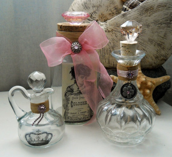 Dreamy Pink set: these are great for storing your regularly used bathroom items such as bath bubble, bath salts, Epsom salts, mouthwash, astringent baby oil... the list goes on, display your everyday items in a pretty yet functional way!