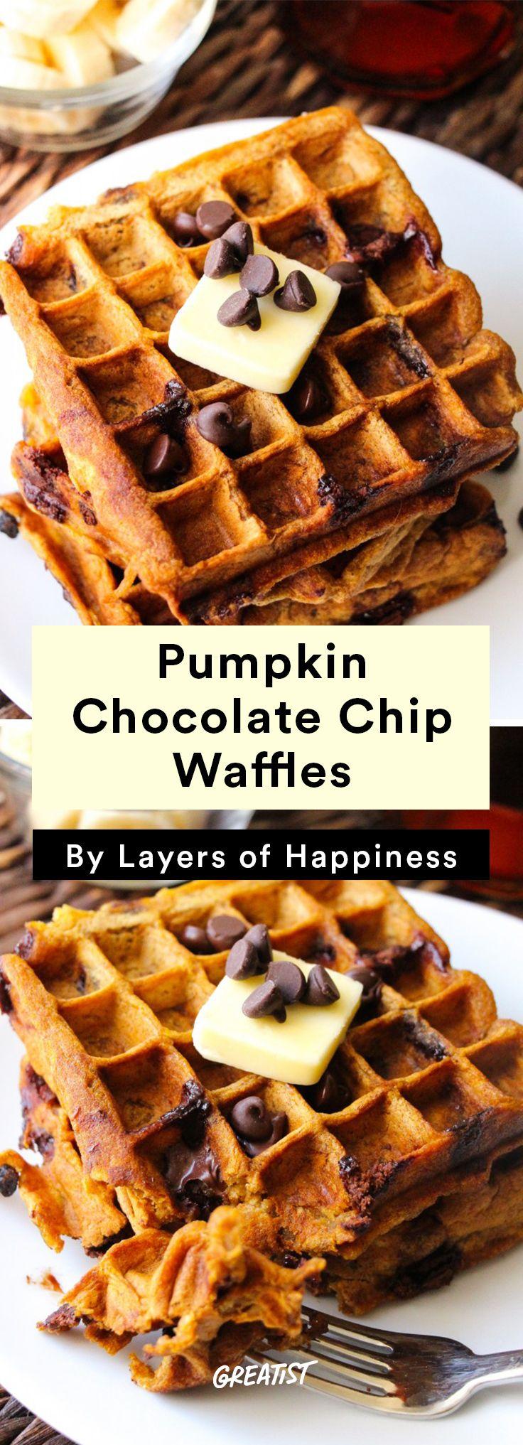 4. Pumpkin Chocolate Chip Waffles  #healthy #fall #brunch #recipes http://greatist.com/eat/brunch-recipes-for-fall