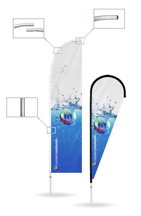 Beachflagg i heavy-duty format!. Disse Beachflaggene tåler en støyt!. Med solid alu ramme får du hos oss Beachflagg som tåler det meste av vær og vind. Har du behov for å vise budskapet ditt på et vind utsatt sted så er dette den optilmale løsning. Kombinert med knallpriser og vår superraske levering får du et produkt som er ekstremt effektivt i markedsføringen din.