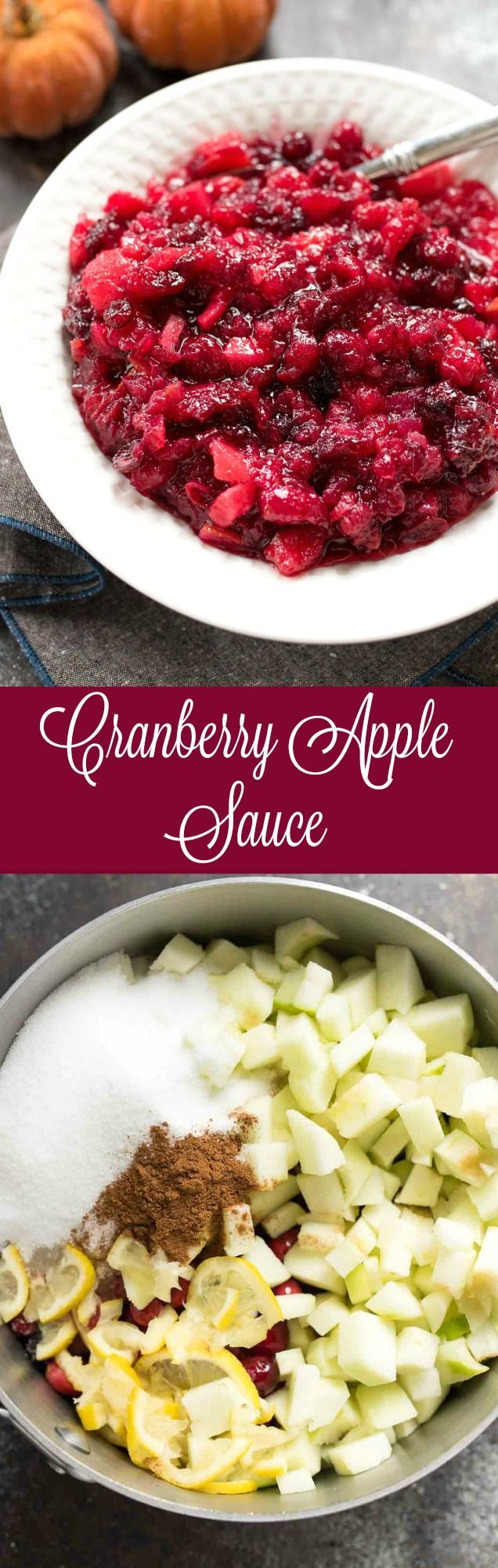 Cranberry Apple Sauce | green apples + lemon and cinnamon make this the perfect cranberry sauce for your Holiday spread. Naturally gluten free!