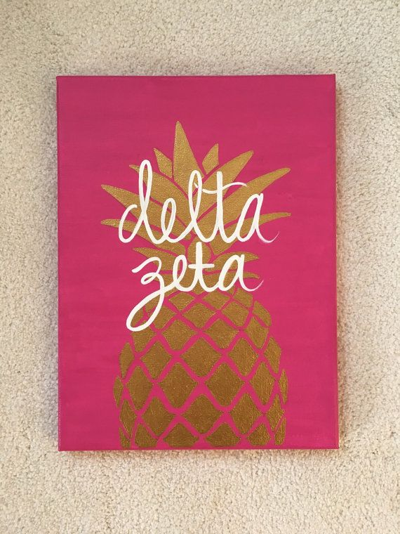 Delta Zeta hand painted pineapple canvas by AnnOliviaOriginal