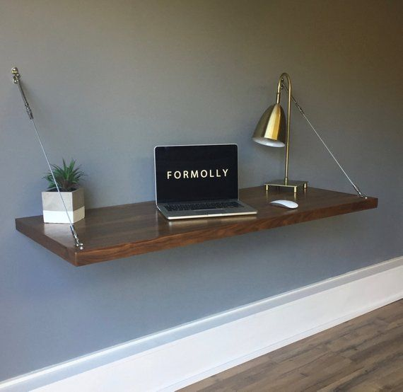 Wall Mounted Floating Desk Walnut Etsy Wall Mounted Desk Floating Desk Walnut Desks