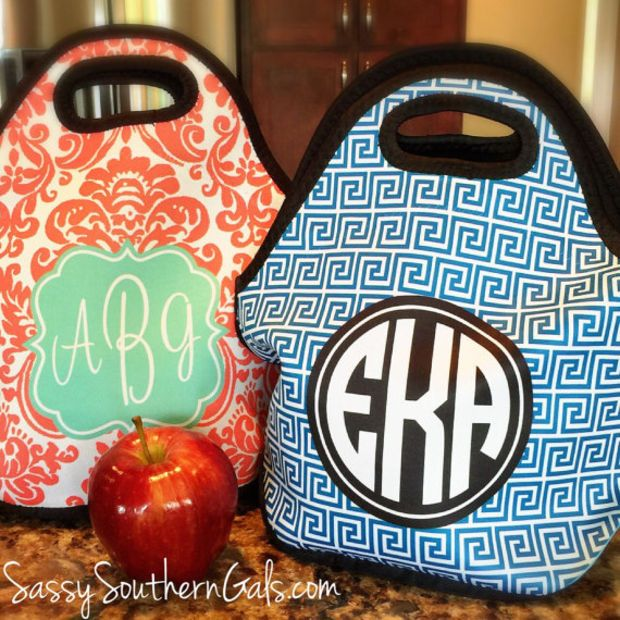 Monogrammed Lunchbox Lunch Bags Insulated Neoprene Bag Personalized Tote Design Your Own Kate Spade And Such