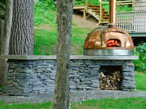 outdoor kitchen counter and  wood fired bread oven!