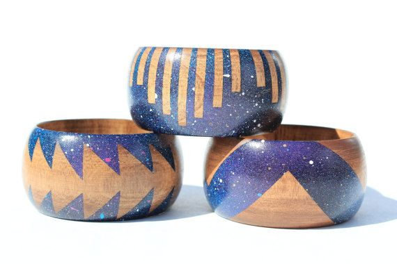 love these!Wood Bangles, Style, Jewelry Inspiration, African Bracelets, Cosmic Wood, Wood Bracelets, Fashion Inspiration, Galaxies Bangles, Jewelry Ideas