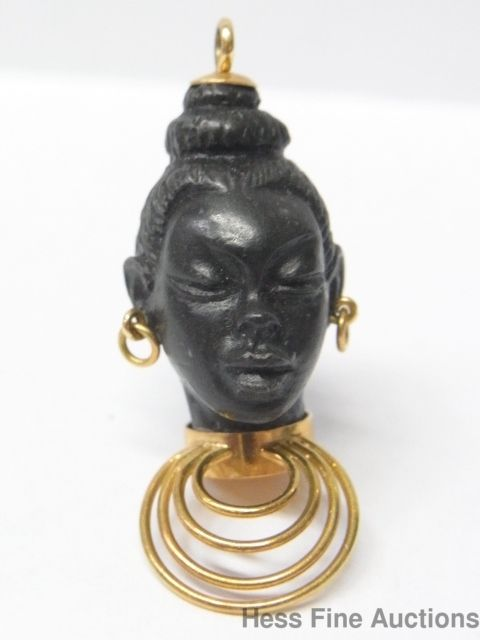 Finely Carved Ebony Wood 18K Gold Blackamoor Vintage African Queen Pendant Charm   eBay..